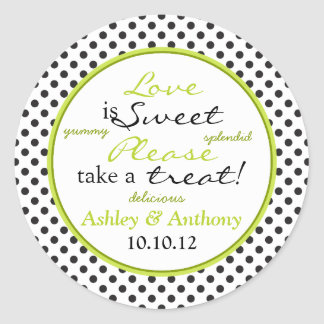 Green Black White Polka Dot Candy Buffet Stickers