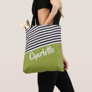 Green Black White Striped Pattern Personalised Tote Bag