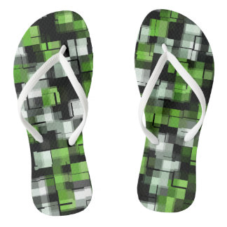 Green Black White Trendy Pattern Thongs