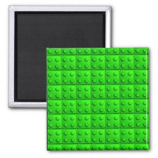 Green blocks pattern square magnet
