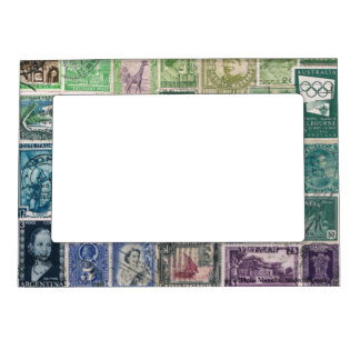 Green Blue 1 Postage Stamp Collage Picture Frame Picture Frame Magnet