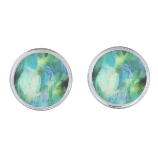 Green Blue Abstract Leaves cufflinks Silver Finish Cuff Links