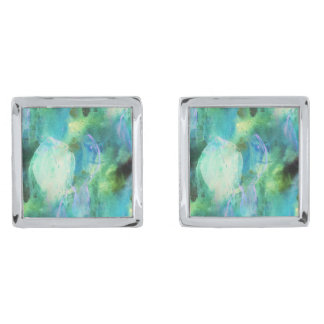 Green Blue Abstract Leaves cufflinks Silver Finish Cufflinks