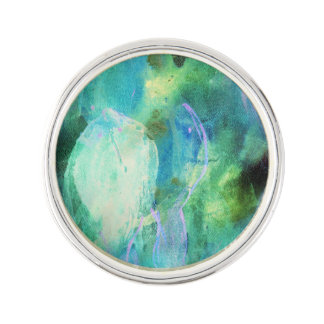 Green Blue Abstract Leaves lapel pin