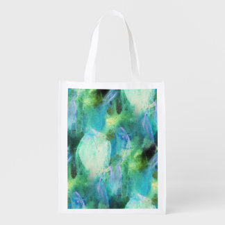 Green Blue Abstract Leaves reusable bag