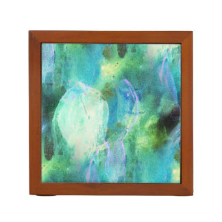 Green Blue Abstract Leaves watercolor print Desk Organiser