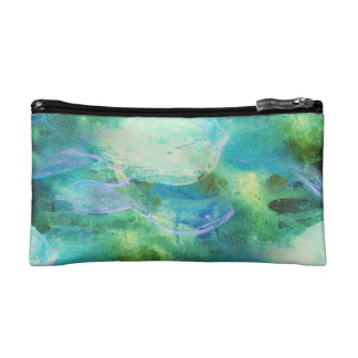 Green Blue Abstract Leaves wristlet