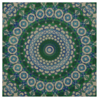 Green, Blue and Grey Mandala Fabric