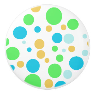 Green, Blue and Orange Polka Dotted Button Knob