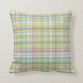 Green, Blue and Pink Plaid Cushion