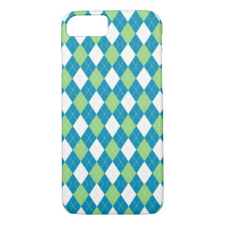 Green Blue and White Argyle Pattern iPhone 7 Case