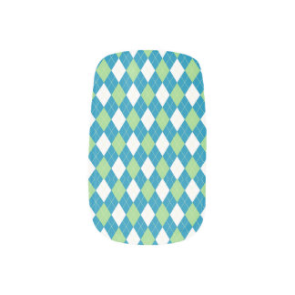 Green Blue and White Argyle Pattern Nails Sticker