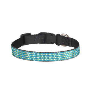 Green Blue and White Argyle Pattern Pet Collars