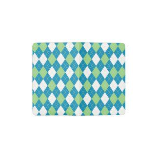 Green Blue and White Argyle Pattern Pocket Moleskine Notebook
