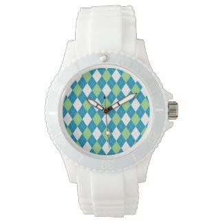 Green Blue and White Argyle Pattern Wrist Watch