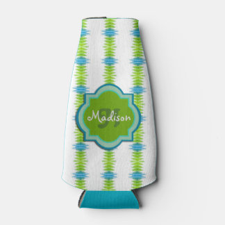 Green, Blue and White Funky Stripe Monogram Bottle Cooler