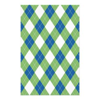 Green blue argyle pattern customized stationery