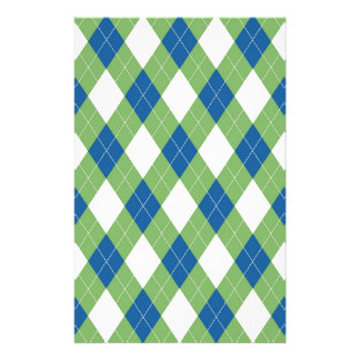 Green blue argyle pattern stationery design