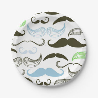 Green, Blue & Black Mustache Design 7 Inch Paper Plate