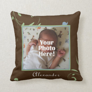 Green, Blue, Brown Snail Photo Baby Boy Cushion