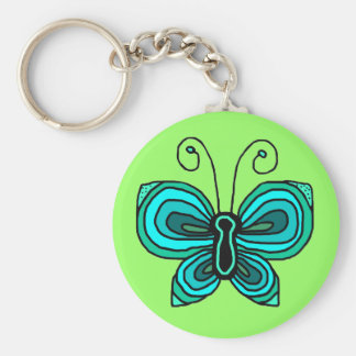 Green blue butterfly key chain