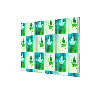 Green Blue Canada Maple Leaf Organic Nature Design Canvas Print