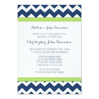 Green Blue Chevron Baptism Invitation
