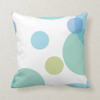 Green Blue Circles Throw Pillow