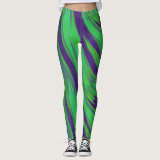 Green Blue Color Swish Abstract Leggings