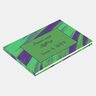 Green Blue Colour Swish Abstract Guest Book
