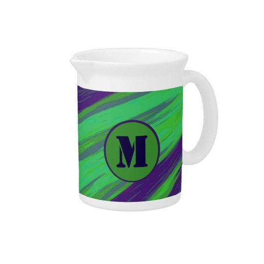 Green Blue Colour Swish Monogram Beverage Pitcher