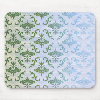Green Blue Damask Mouse Pad