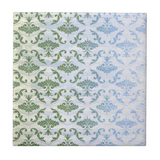 Green Blue Damask Small Square Tile