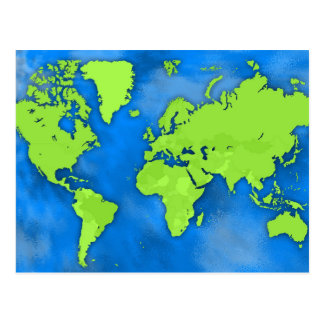 Green & Blue Earth Map Postcard