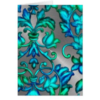 Green Blue Embossed Damask Greeting Card