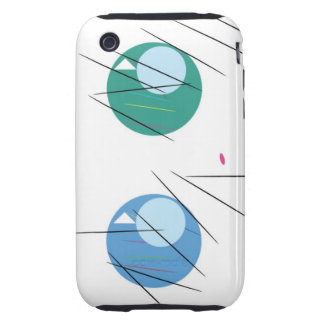 Green,Blue Eyes, Black Stripes Tough iPhone 3 Cases