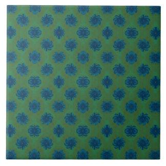 Green blue flower pattern large square tile