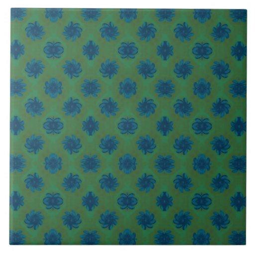 Green blue flower pattern ceramic tiles