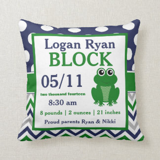 Green Blue Frog Baby Announcement Pillow
