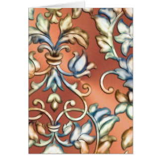 Green Blue Gold Copper Embossed Damask Greeting Card