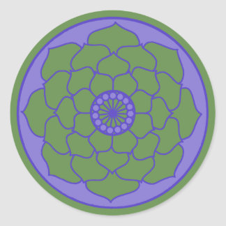 Green Blue Lotus Mandala Classic Round Sticker