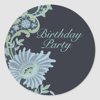 Green & Blue Lush Floral Birthday Sticker