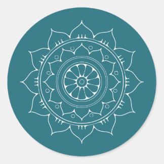 Green Blue Mandala Flower oriental round sticker