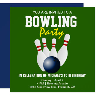 Green Blue Modern Bowling Party Birthday Invite
