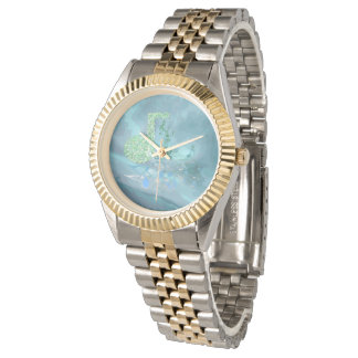 Green & Blue Music Notes Abstract 2 Two-Tone Watch