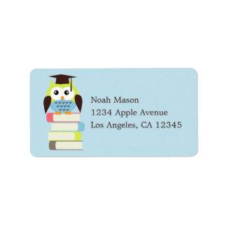 Green/Blue Owl Address Label