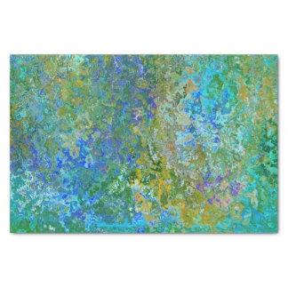 Green & Blue Paint Art Abstract Pattern Tissue Paper