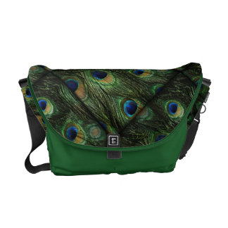 Green Blue Peacock Feathers Messenger Bag