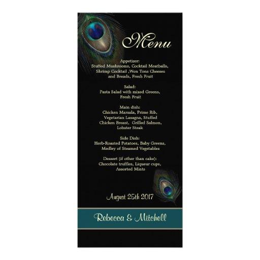 Green blue peacock feathers on black  Menu Rack Card Design