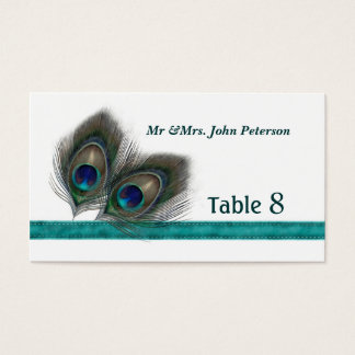 Green blue peacock feathers Place card